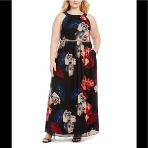 SL Fashions,Bead-Waist Maxi Dress,bl/multi,NWT
